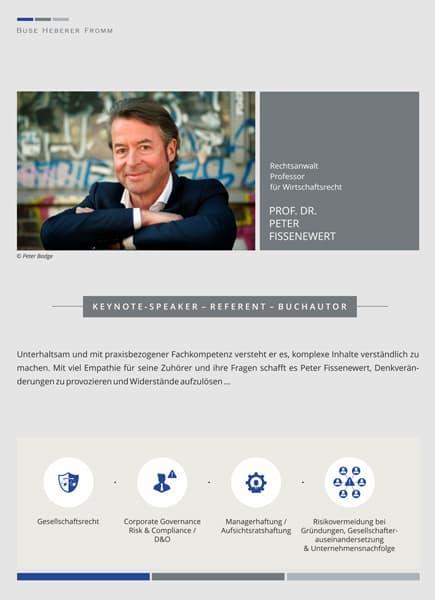 Vita von Prof. Dr. Peter Fissenewert, Rechtsanwalt der Kanzlei Buse Heberer Fromm