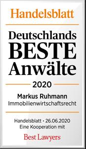 Handelsblatt Deutschlands Beste Anwälte 2020, Markus Ruhmann, Rechtsanwalt der Kanzlei Buse Heber Fromm