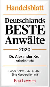 Handelsblatt Deutschlands Beste Anwälte 2020, Dr. Alexander Krol, Rechtsanwalt der Kanzlei Buse Heberer Fromm