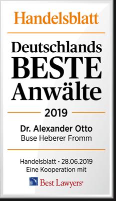 Handelsblatt Deutschlands Beste Anwälte 2019, Dr. Alexander Otto, Rechtsanwalt der Kanzlei Buse Heber Fromm