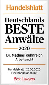 Handelsblatt Deutschlands Beste Anwälte 2020, Dr. Mathias Kühnreich, Rechtsanwalt der Kanzlei Buse Heberer Fromm
