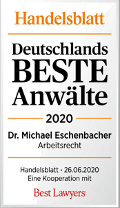 Handelsblatt Deutschlands Beste Anwälte 2020, Dr. Michael Eschenbacher, Rechtsanwalt der Kanzlei Buse Heberer Fromm