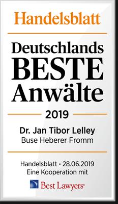 Handelsblatt Deutschlands Beste Anwälte, Dr. Jan Tibor Lelley, Rechtsanwalt der Kanzlei Buse Heberer Fromm