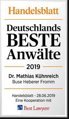 Handelsblatt Deutschlands Beste Anwälte, Dr. Mathias Kühnreich, Rechtsanwalt der Kanzlei Buse Heberer Fromm