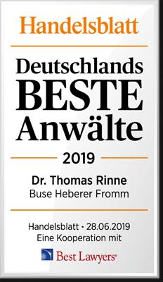 Handelsblatt Deutschlands Beste Anwälte, Dr. Thomas Rinne, Rechtsanwalt der Kanzlei Buse Heberer Fromm