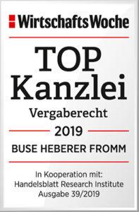 Wirtschaftswoche: Top Kanzlei in Vergaberecht 2019, Buse Heberer Fromm