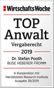 """Die WirtschaftsWoche zeichnete Düsseldorfer Anwalt Dr. Stefan Pooth als """"Top Anwalt"""" im Vergaberecht aus."""