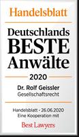 Handelsblatt Deutschlands Beste Anwälte 2020, Dr. Rolf Geissler, Rechtsanwalt der Kanzlei Buse Heberer Fromm