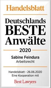 Sabine Feindura, Deutschlands Beste Anwälte 2020, Handelsblatt