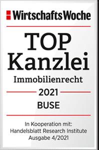 BUSE - TOP Kanzlei 2021 Immobilienrecht: Wirtschaftswoche